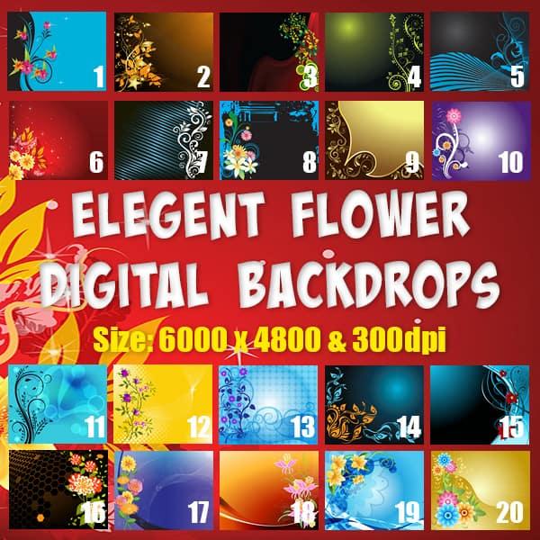 Elegant Flower Digital Backgrounds