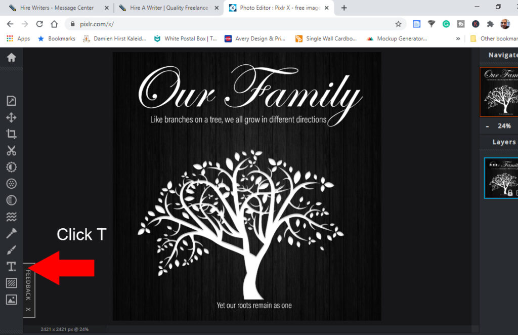 Step 1 to create Personalised Family Tree Plaque