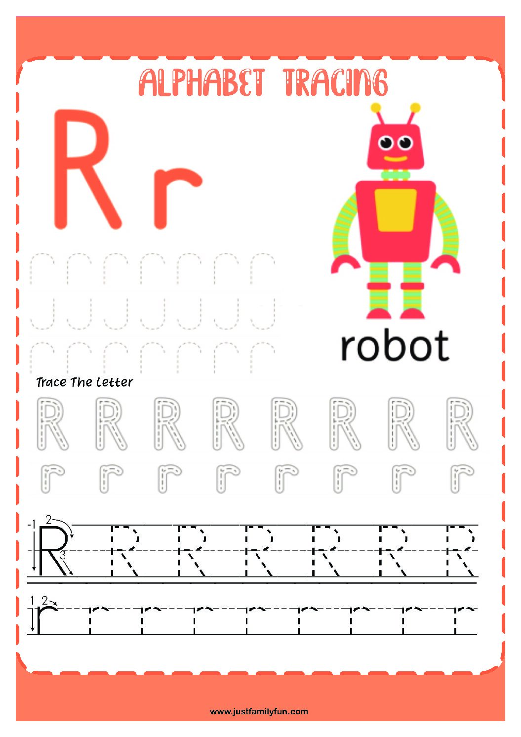 Alphabets_18-pdf Free Printable Trace The Alphabet Worksheets for Kids.