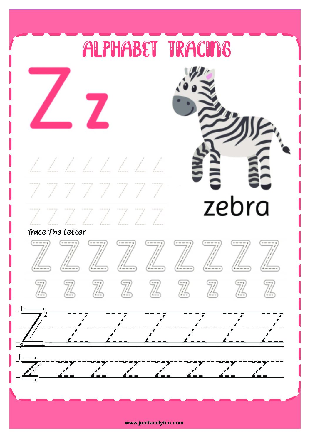Alphabets_26-pdf Free Printable Trace The Alphabet Worksheets for Kids.
