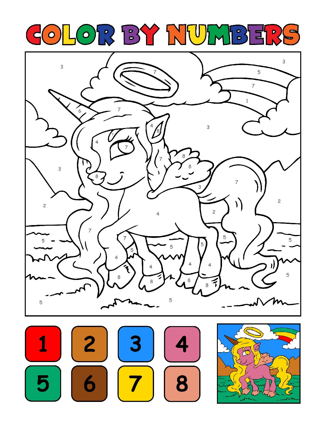 Color-by-Numbers-Kids_Unicorns-1-01-pdf Free Printable Unicorn Colouring Pages