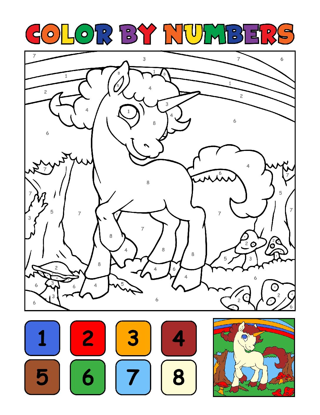 Color-by-Numbers-Kids_Unicorns-10-01-pdf Free Printable Unicorn Colouring Pages