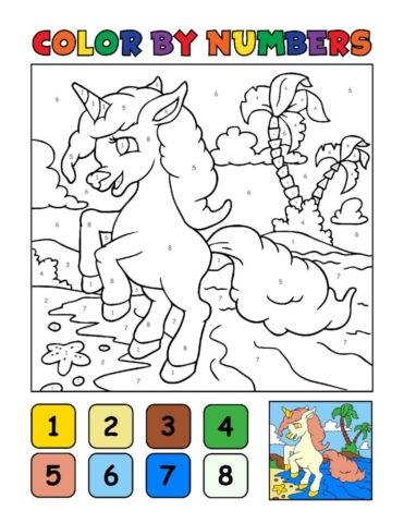 Color-by-Numbers-Kids_Unicorns-11-01-pdf-791x1024-640x480 Free Printable Unicorn Colouring Pages