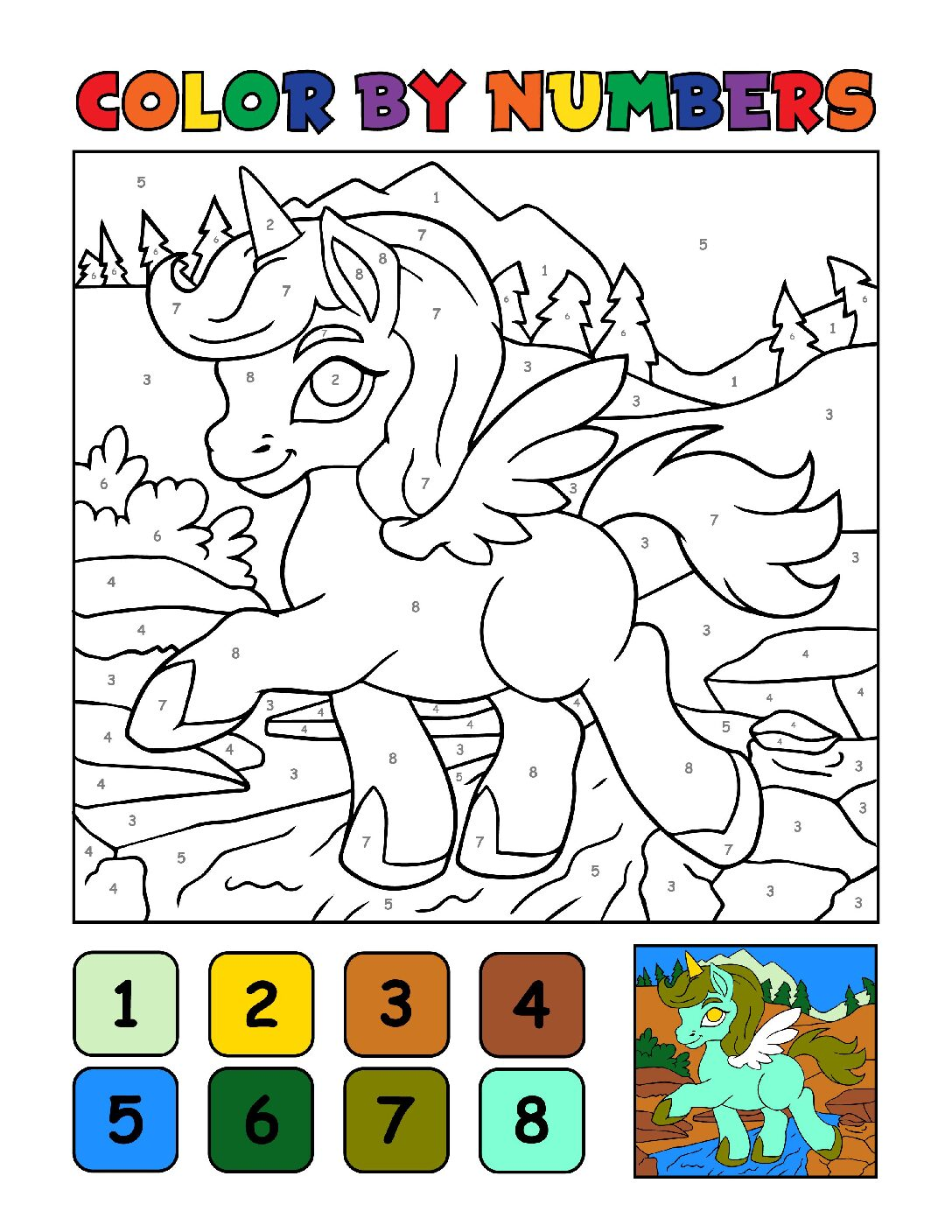 Color-by-Numbers-Kids_Unicorns-14-01-pdf Free Printable Unicorn Colouring Pages