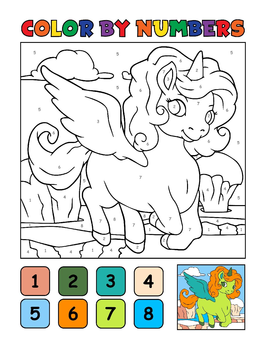 Color-by-Numbers-Kids_Unicorns-15-01-pdf Free Printable Unicorn Colouring Pages