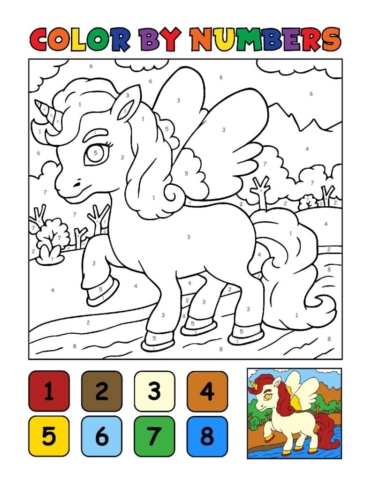 Color-by-Numbers-Kids_Unicorns-16-01-pdf-791x1024-640x480 Free Printable Unicorn Colouring Pages