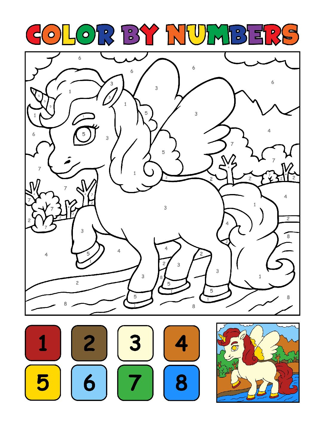 Color-by-Numbers-Kids_Unicorns-16-01-pdf Free Printable Unicorn Colouring Pages