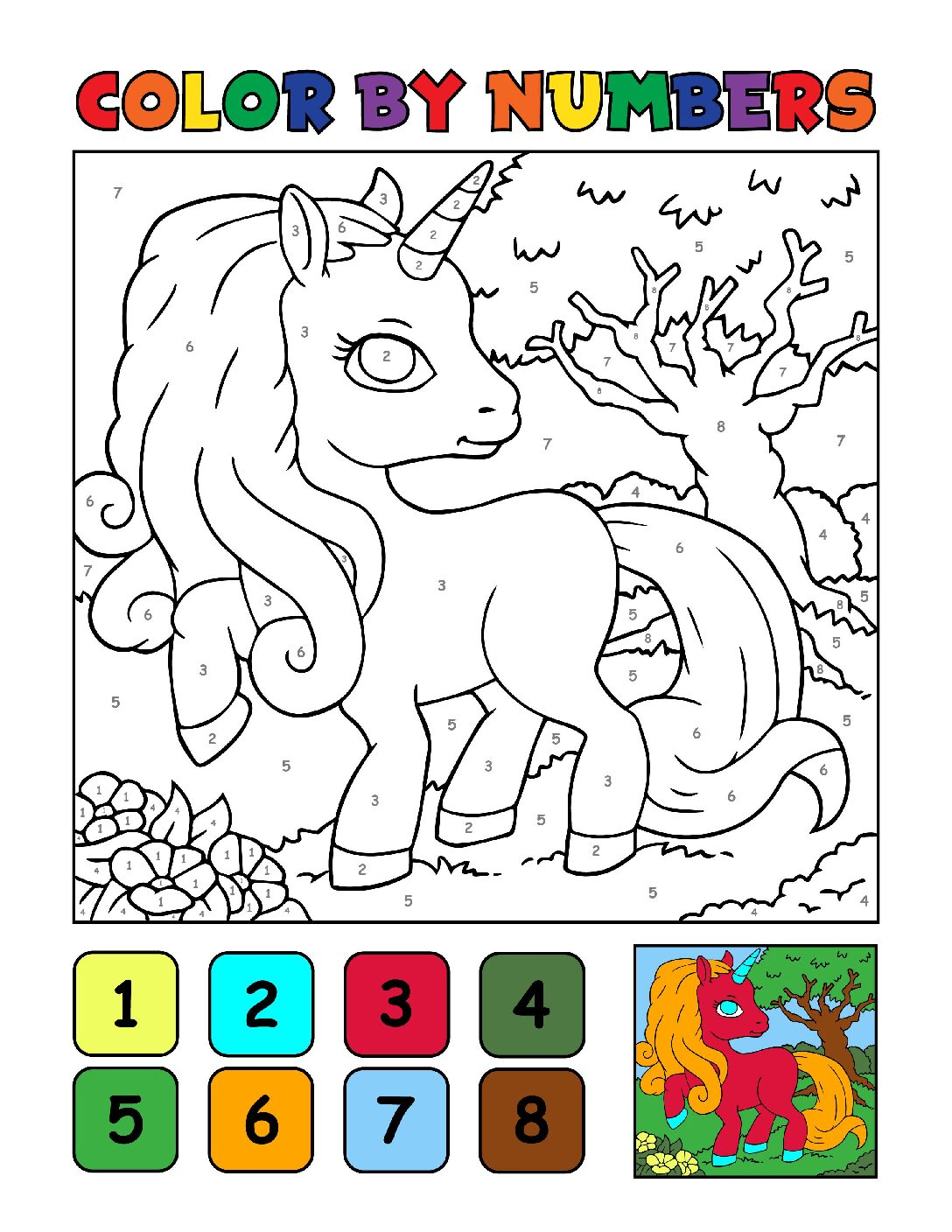 Color-by-Numbers-Kids_Unicorns-17-01-pdf Free Printable Unicorn Colouring Pages