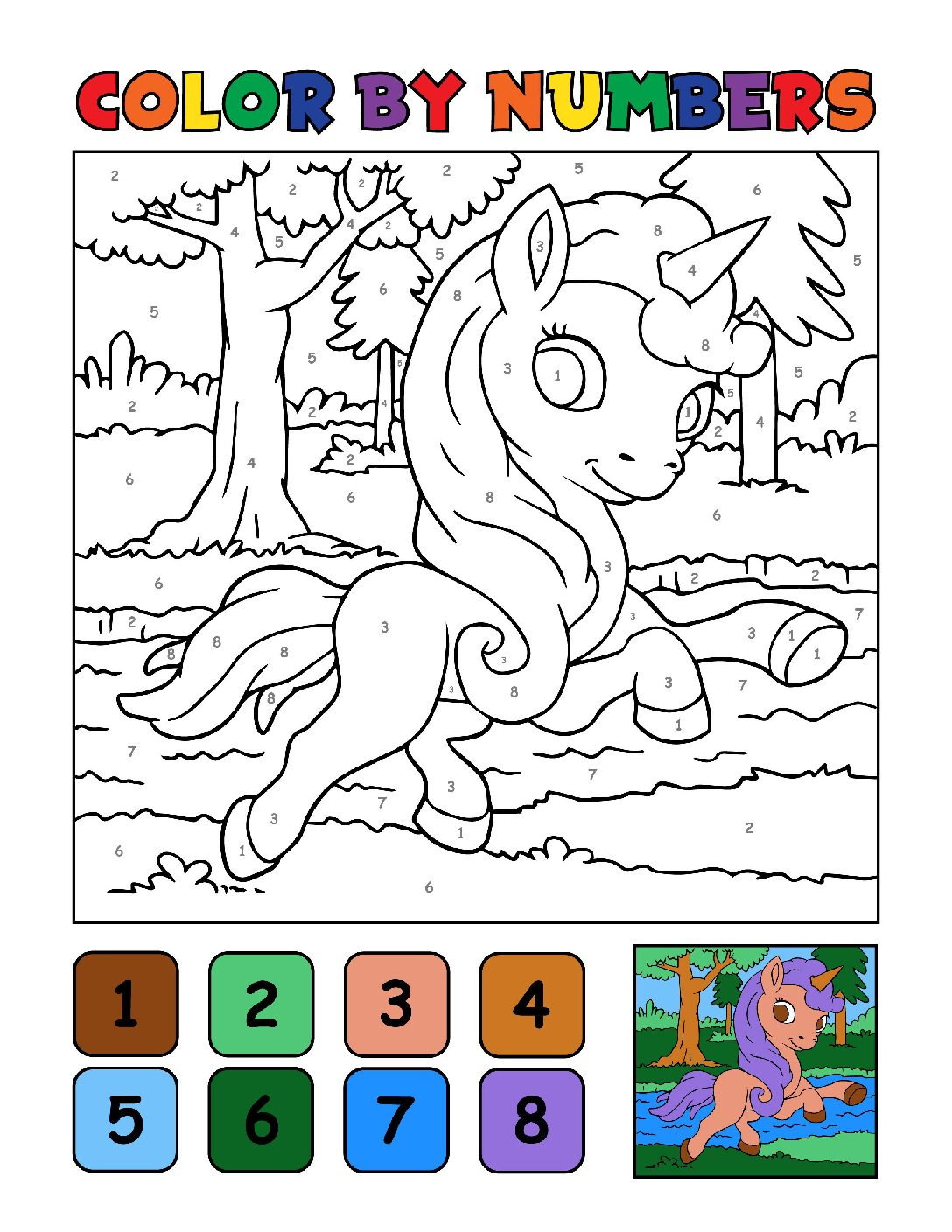 Color-by-Numbers-Kids_Unicorns-18-01-pdf Free Printable Unicorn Colouring Pages