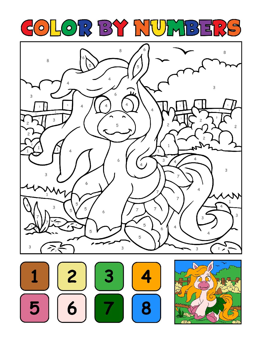 Color-by-Numbers-Kids_Unicorns-19-01-pdf Free Printable Unicorn Colouring Pages