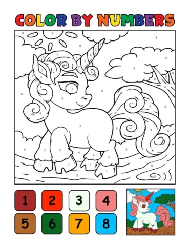 Color-by-Numbers-Kids_Unicorns-2-01-pdf-791x1024-640x480 Free Printable Unicorn Colouring Pages