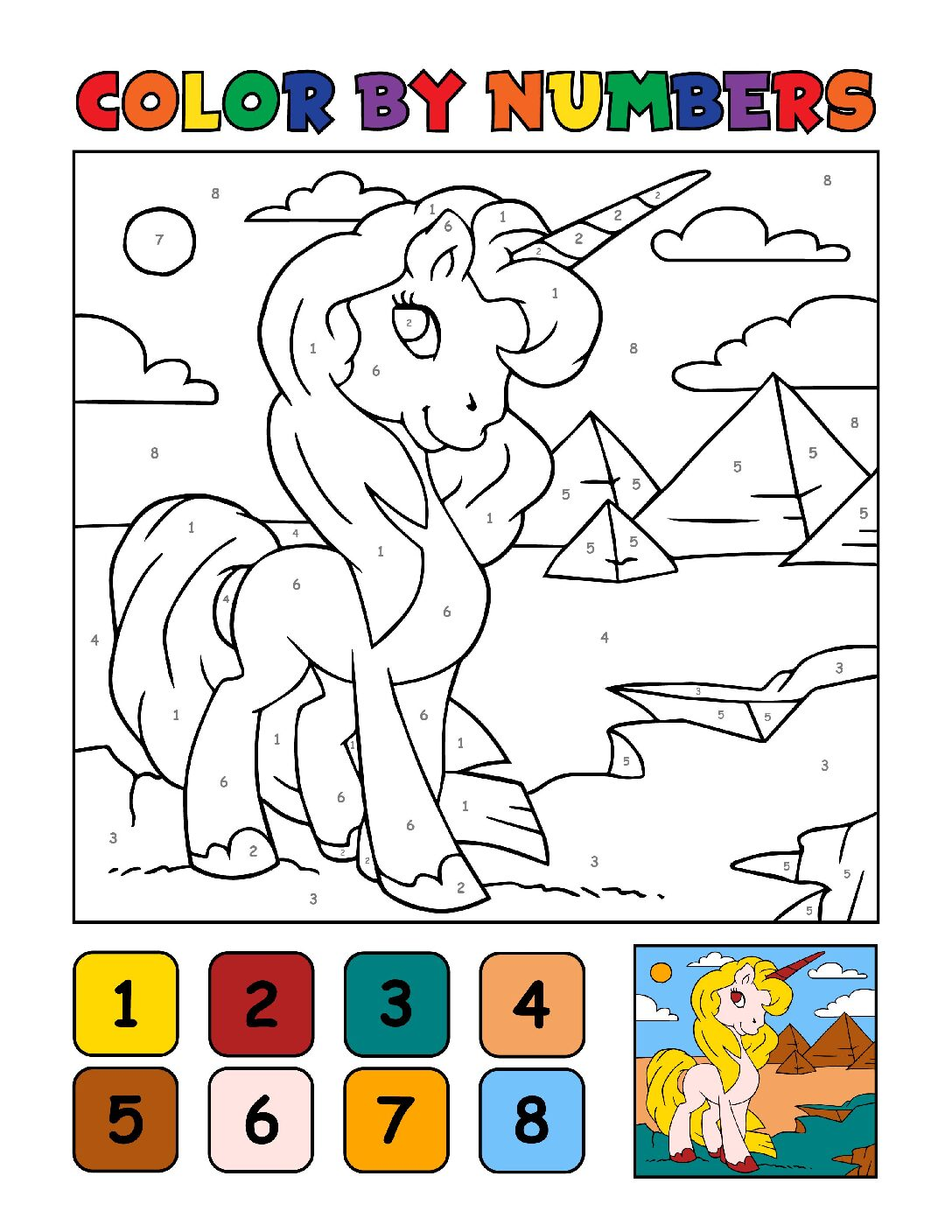 Color-by-Numbers-Kids_Unicorns-20-01-pdf Free Printable Unicorn Colouring Pages