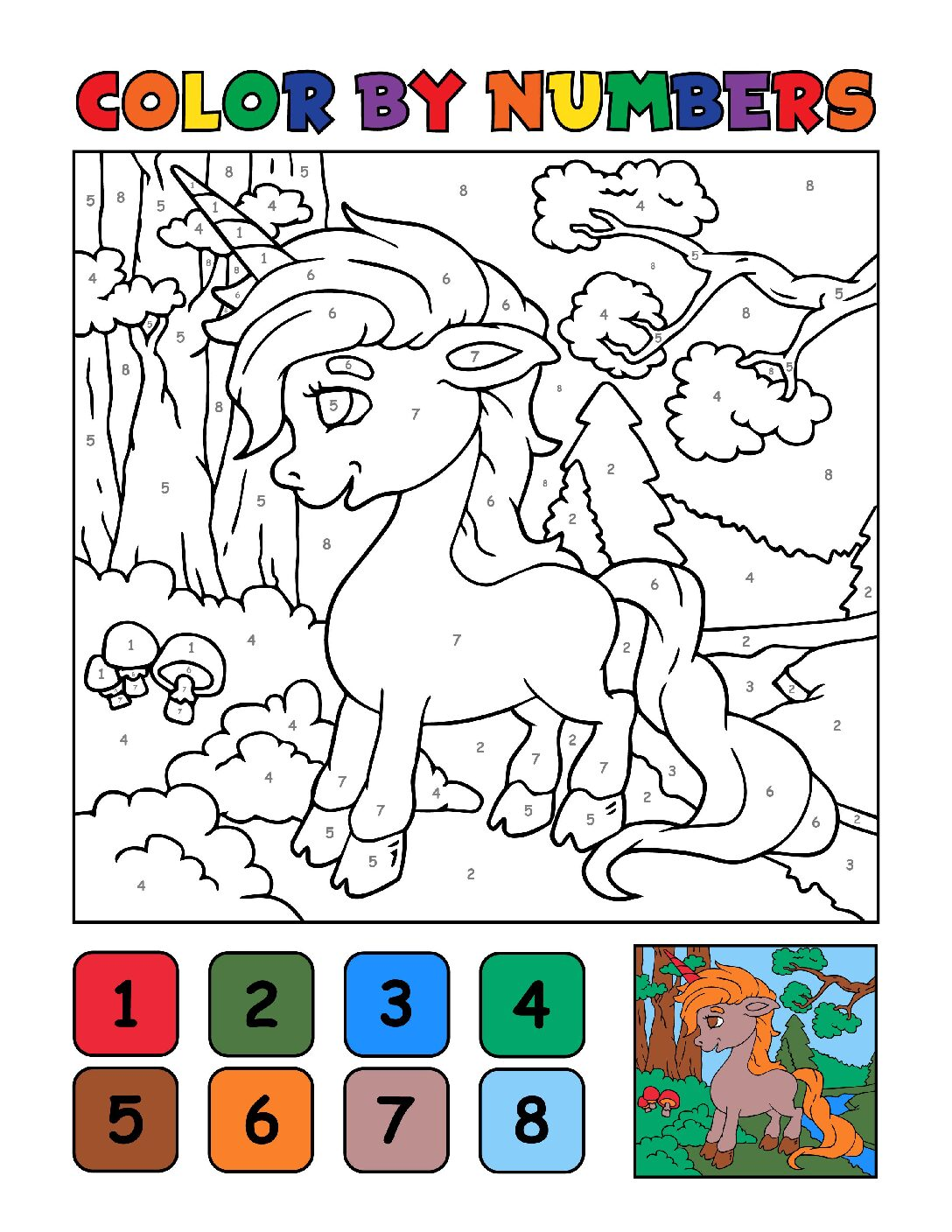 Color-by-Numbers-Kids_Unicorns-3-01-pdf Free Printable Unicorn Colouring Pages