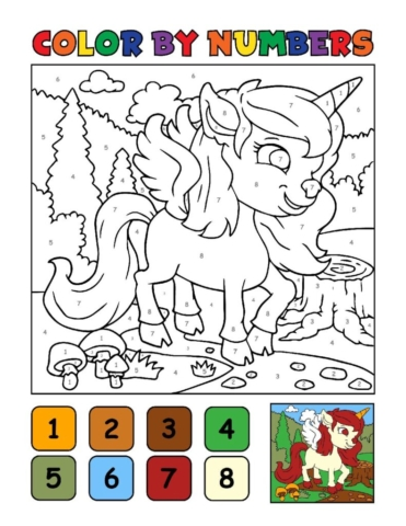 Color-by-Numbers-Kids_Unicorns-4-01-pdf-791x1024-640x480 Free Printable Unicorn Colouring Pages