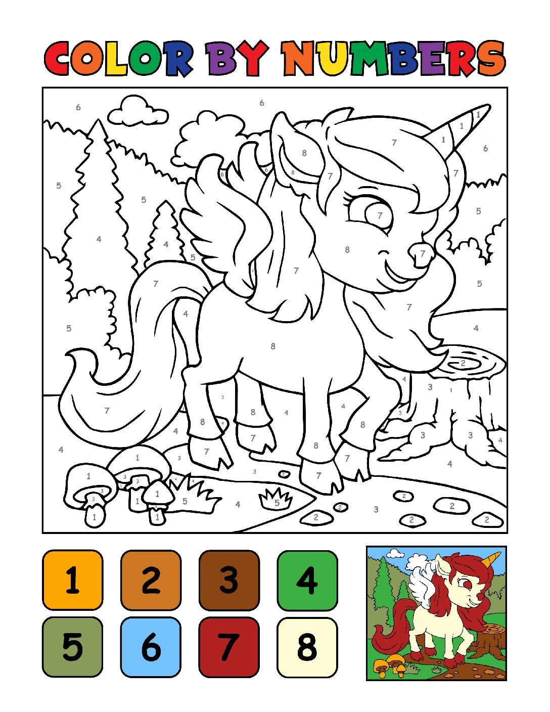 Color-by-Numbers-Kids_Unicorns-4-01-pdf Free Printable Unicorn Colouring Pages