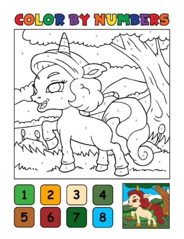 Color-by-Numbers-Kids_Unicorns-6-01-pdf-791x1024-640x480 Free Printable Unicorn Colouring Pages