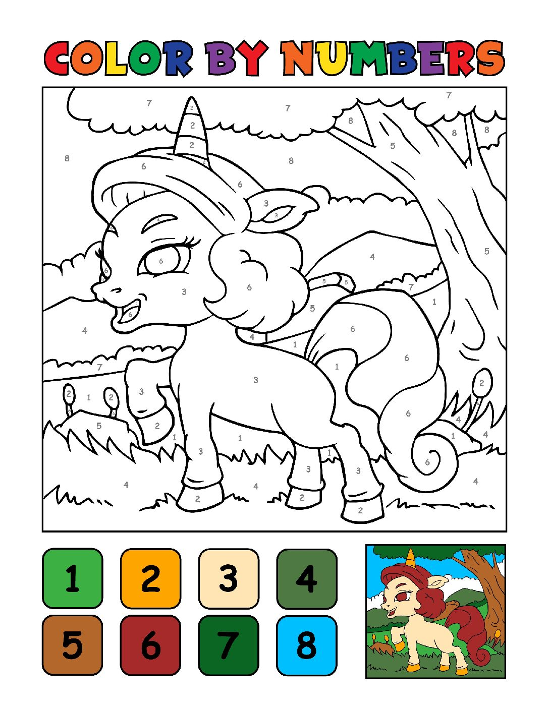 Color-by-Numbers-Kids_Unicorns-6-01-pdf Free Printable Unicorn Colouring Pages