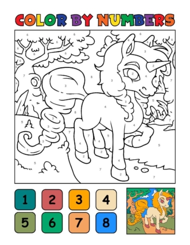 Color-by-Numbers-Kids_Unicorns-8-01-pdf-791x1024-640x480 Free Printable Unicorn Colouring Pages