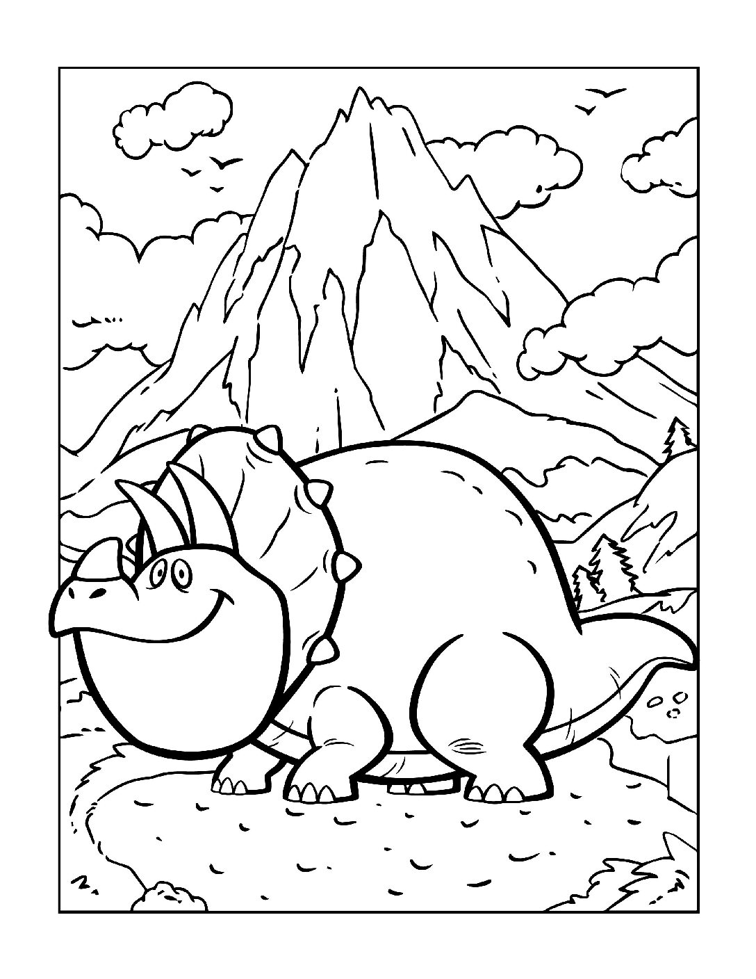 Coloring-Pages-Dinosaur-2-pdf Free Printable Dinasour Colouring Pages