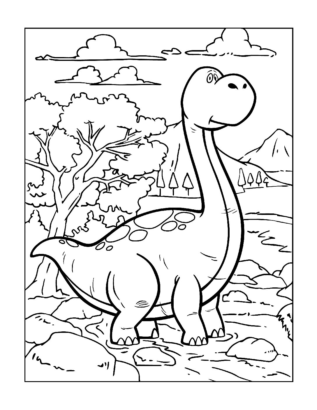Coloring-Pages-Dinosaur-3-pdf Free Printable Dinasour Colouring Pages