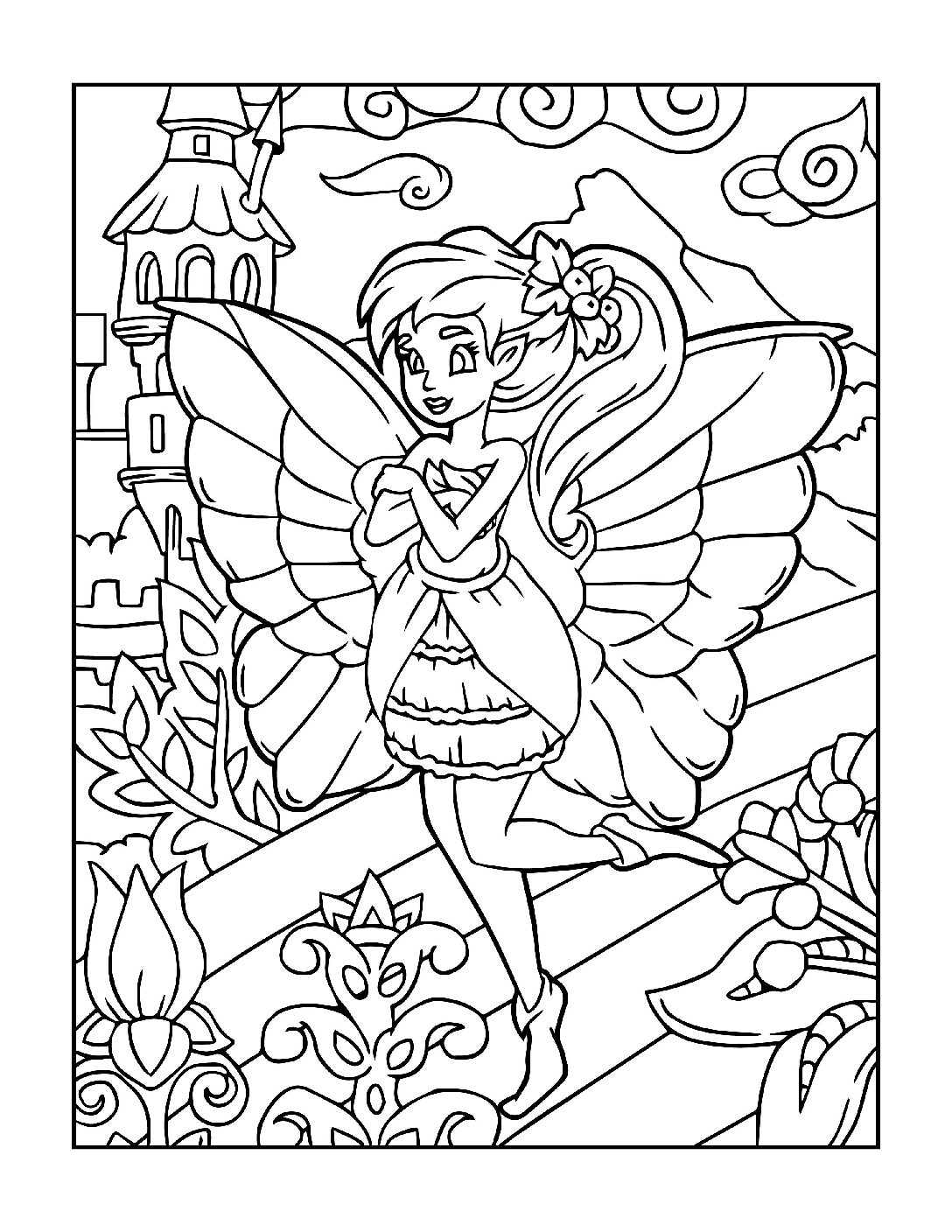 Coloring-Pages-Fairies-1-01-pdf Free Printable Fairy Colouring Pages
