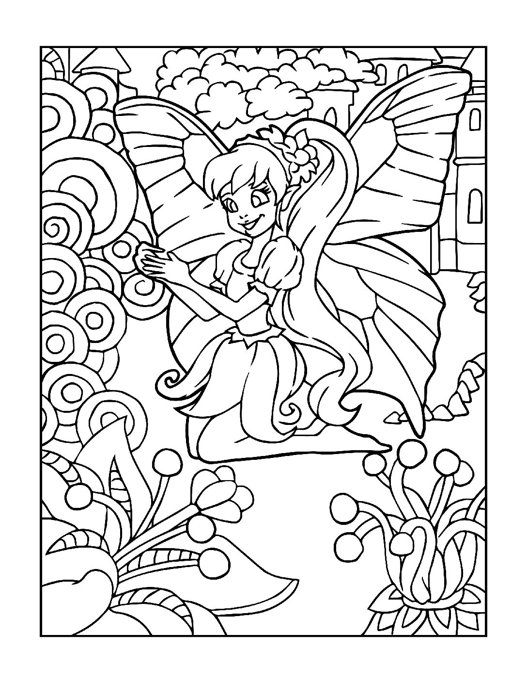 Coloring-Pages-Fairies-2-01-pdf Free Printable Fairy Colouring Pages