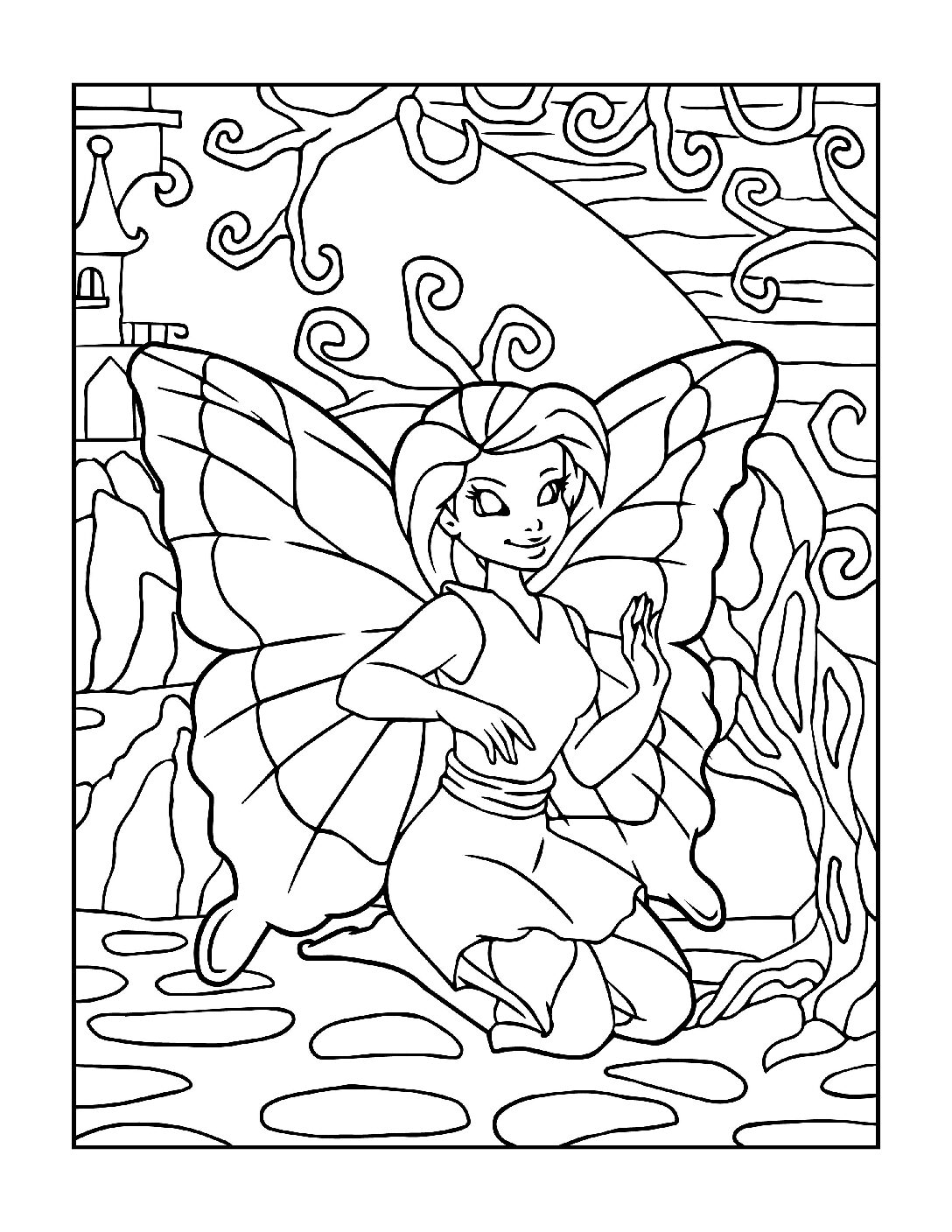 Coloring-Pages-Fairies-3-01-pdf Free Printable Fairy Colouring Pages