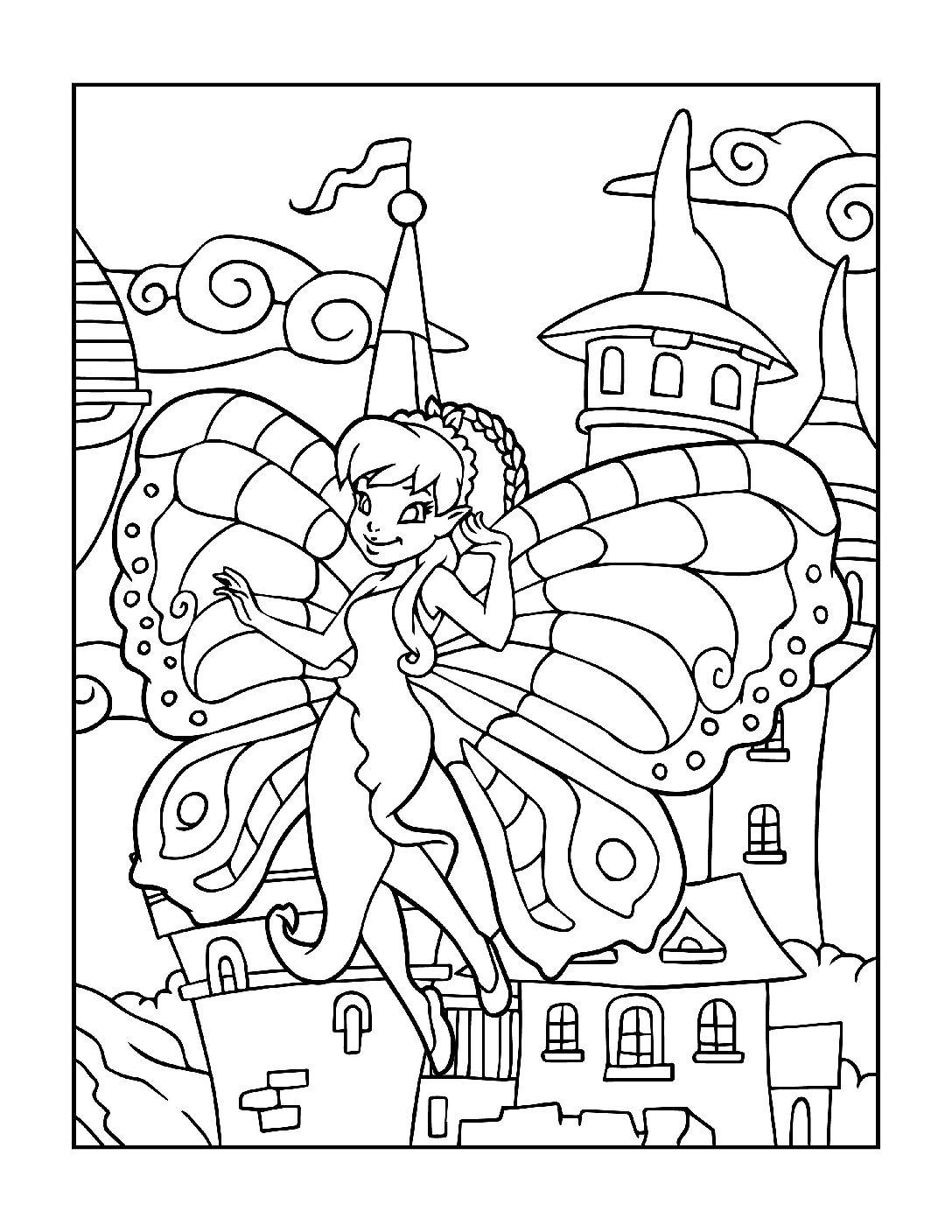 Coloring-Pages-Fairies-4-01-pdf Free Printable Fairy Colouring Pages