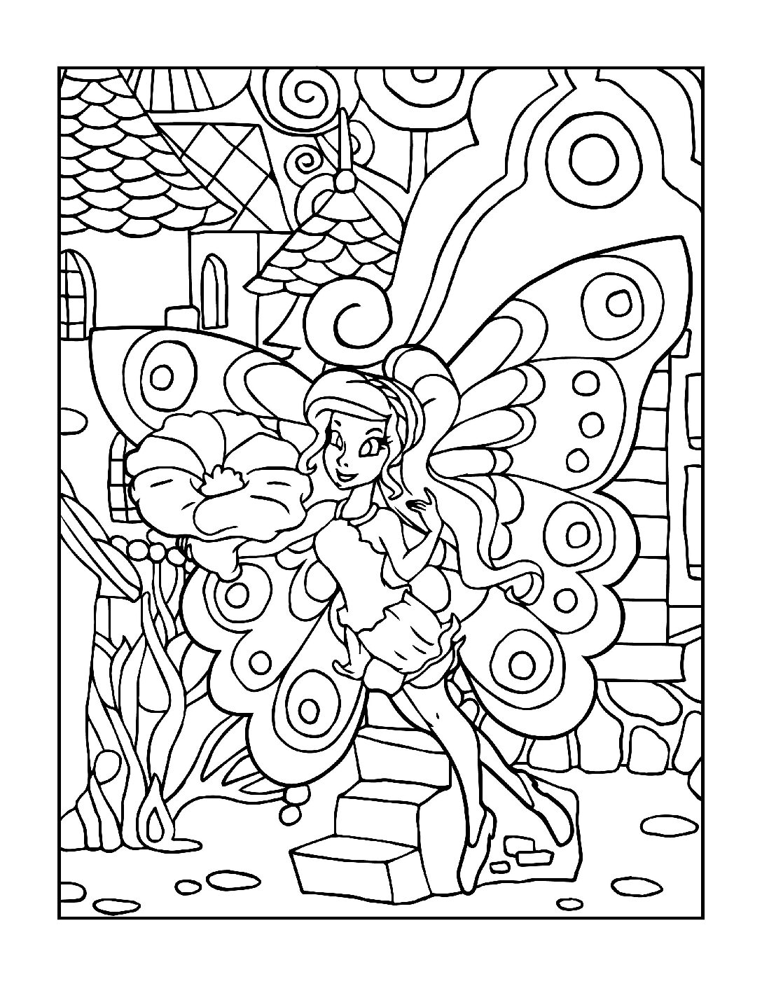 Coloring-Pages-Fairies-8-01-pdf Free Printable Fairy Colouring Pages