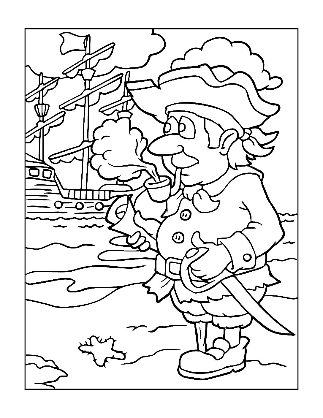 Coloring-Pages-Pirates-and-Knights-for-Boys-11-01-pdf Free Printable Pirates &  Knights Colouring Pages