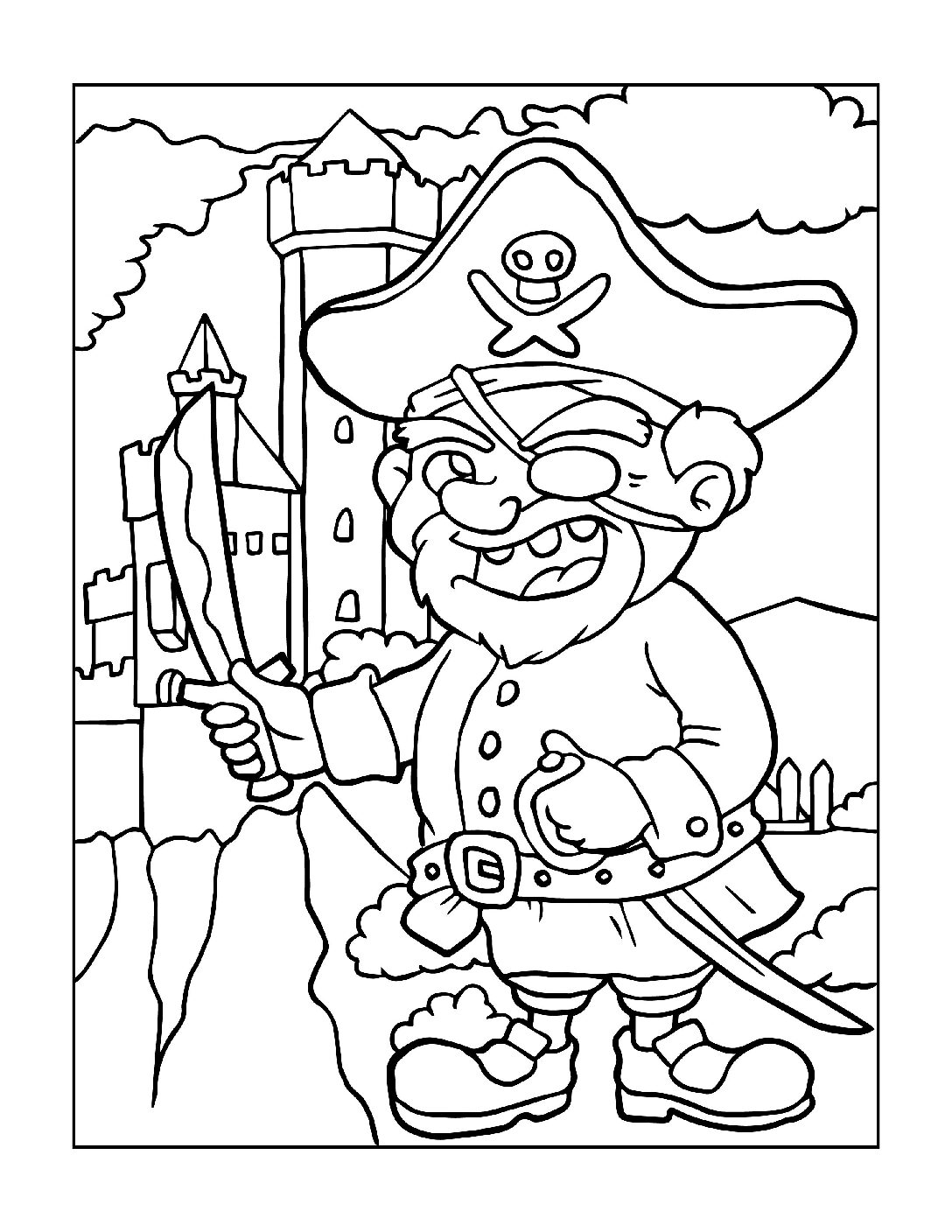 Coloring-Pages-Pirates-and-Knights-for-Boys-13-01-pdf Free Printable Pirates &  Knights Colouring Pages