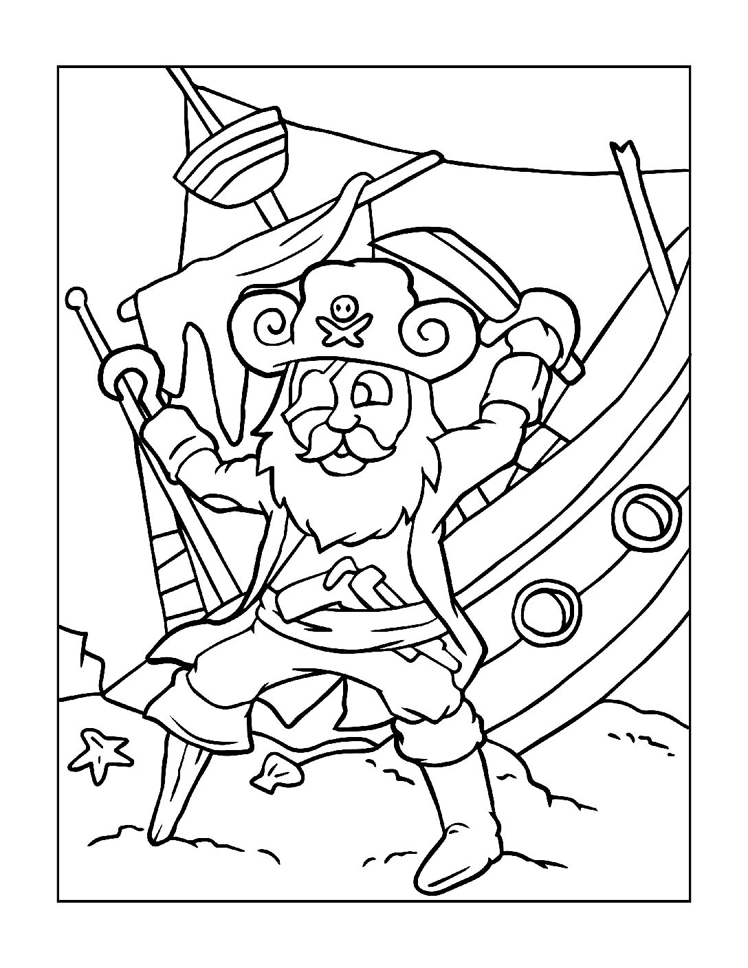 Coloring-Pages-Pirates-and-Knights-for-Boys-7-01-pdf Free Printable Pirates &  Knights Colouring Pages