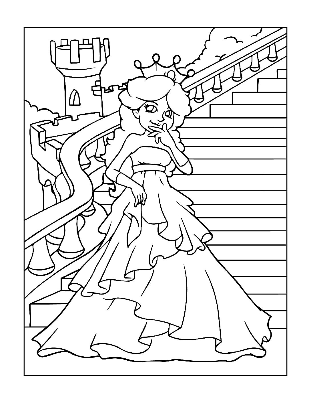 Coloring-Pages-Princess-2-01-pdf Free Printable Princesses Colouring Pages