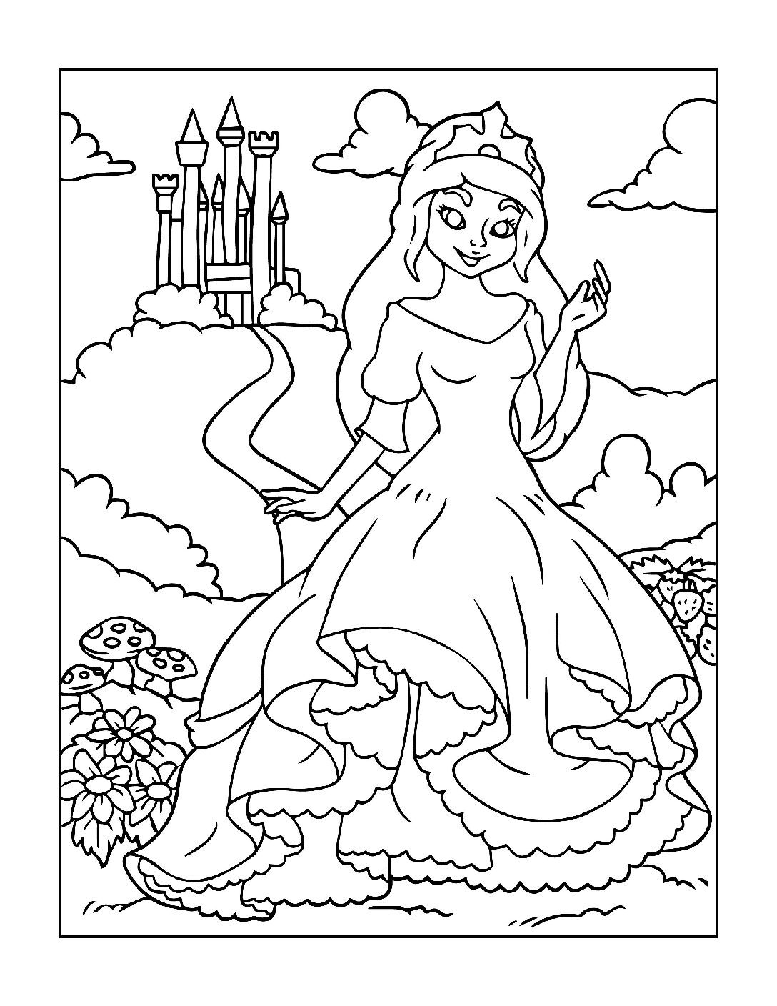 Coloring-Pages-Princess-3-01-pdf Free Printable Princesses Colouring Pages
