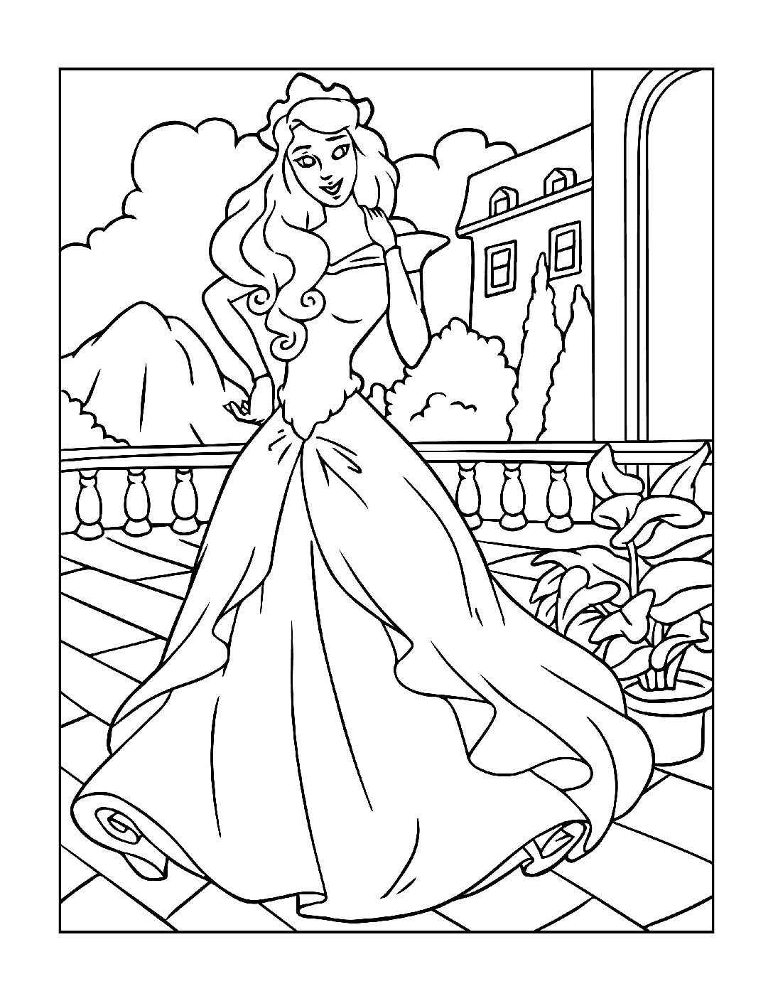 Coloring-Pages-Princess-8-01-pdf Free Printable Princesses Colouring Pages
