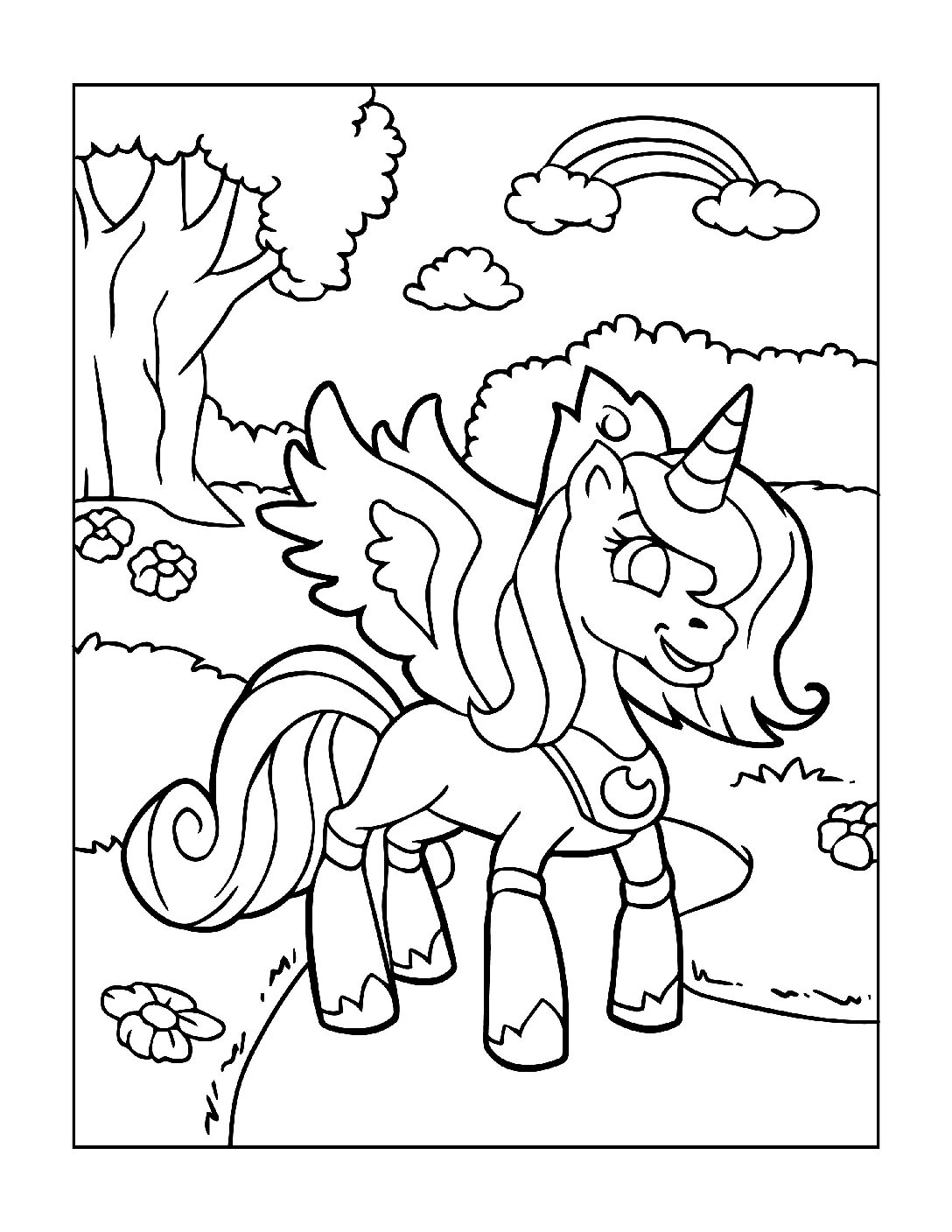Coloring-Pages-Unicorns-11-pdf Free Printable Unicorn Colouring Pages