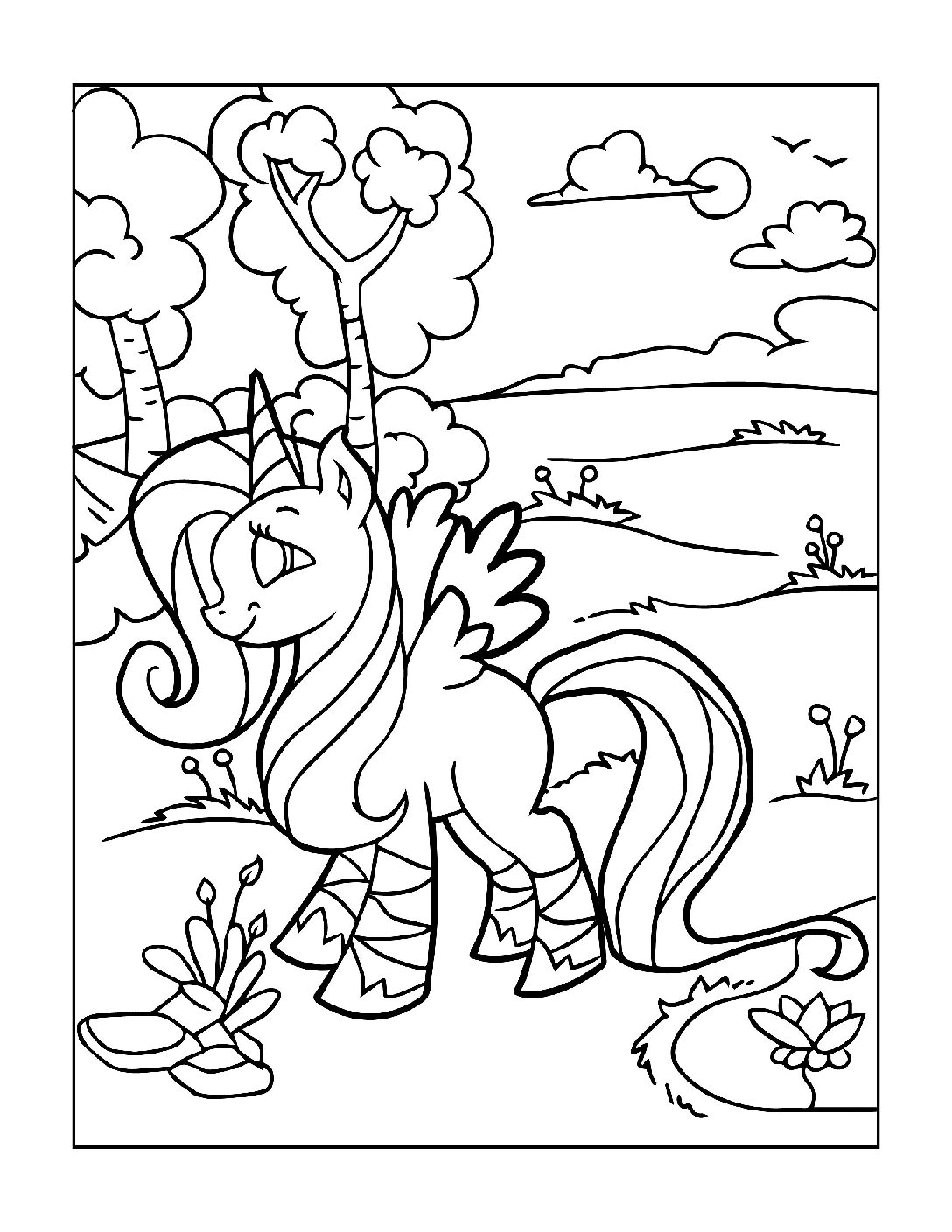 Coloring-Pages-Unicorns-12-pdf Free Printable Unicorn Colouring Pages