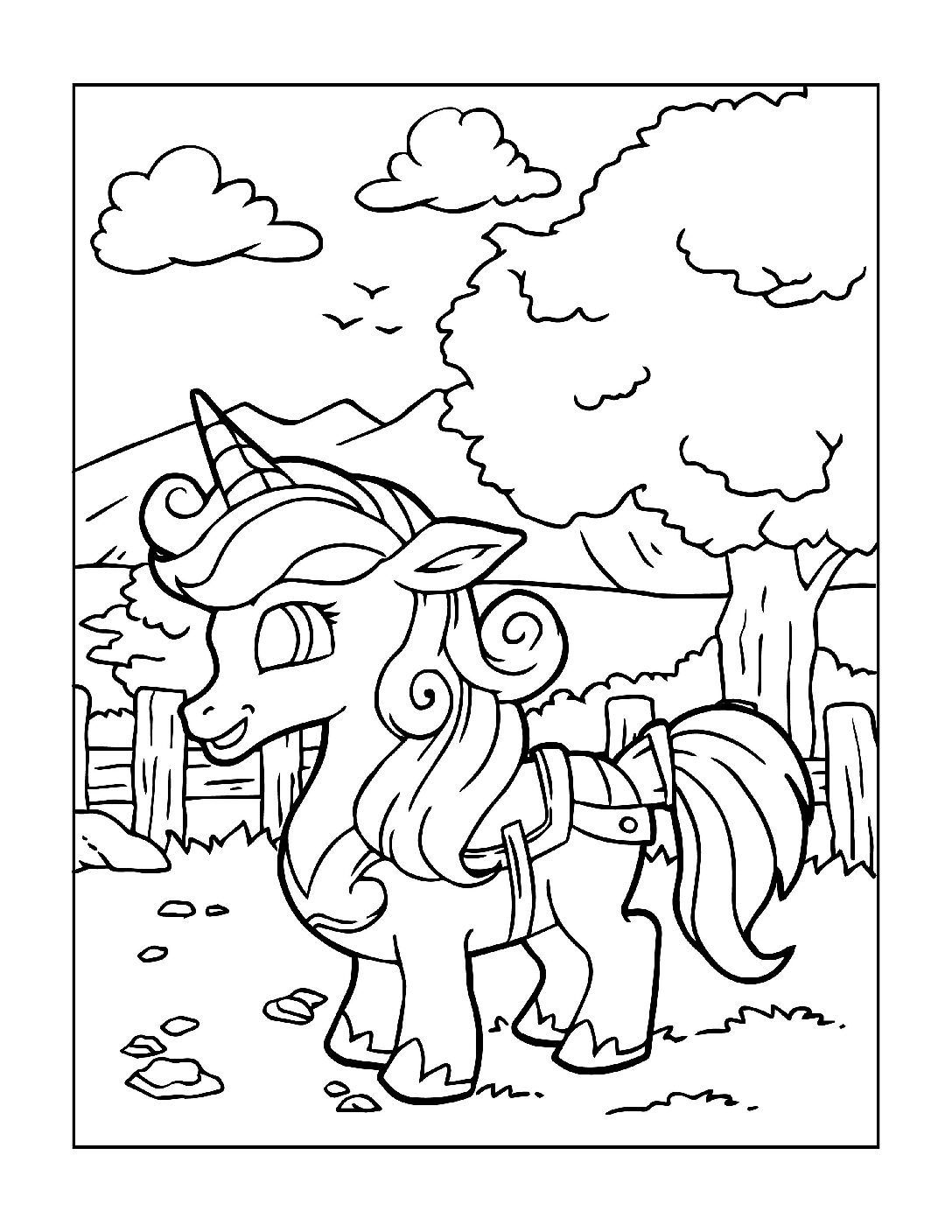 Coloring-Pages-Unicorns-13-pdf Free Printable Unicorn Colouring Pages