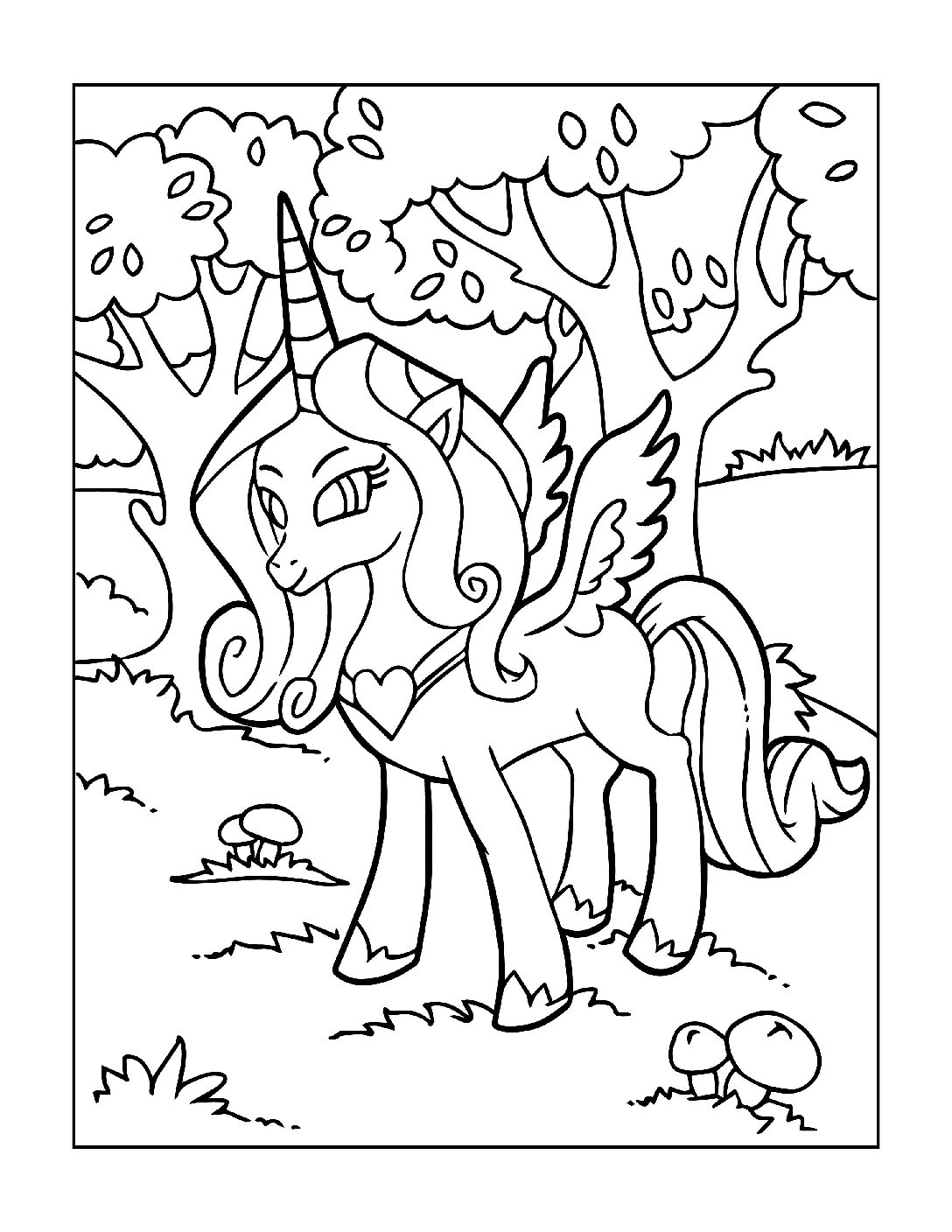 Coloring-Pages-Unicorns-14-pdf Free Printable Unicorn Colouring Pages