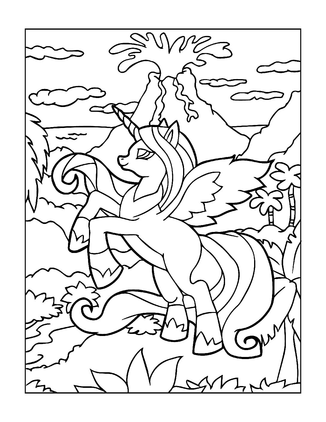 Coloring-Pages-Unicorns-7-pdf Free Printable Unicorn Colouring Pages