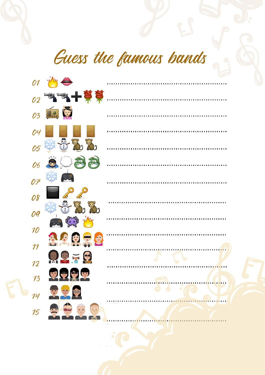 GUESS-THE-FAMOUS-BANDS-pdf Guess the Emoji Print Out Sheets