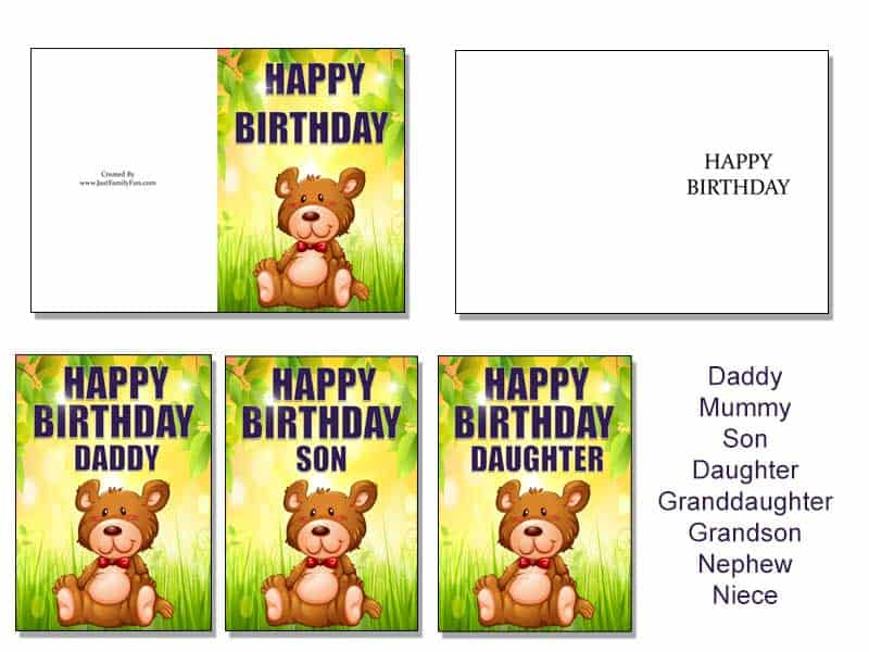 bearcard Make Your Own Birthday Cards With These Free Printable Cards. 6 Different Designs.