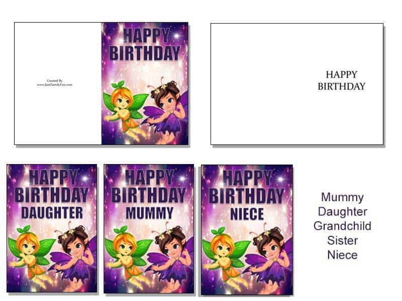 fairy-card Make Your Own Birthday Cards With These Free Printable Cards. 6 Different Designs.