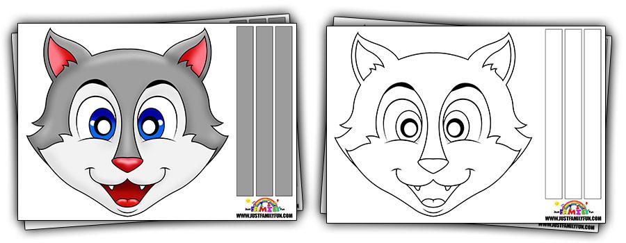 Printable Kids Wolf Mask Templates