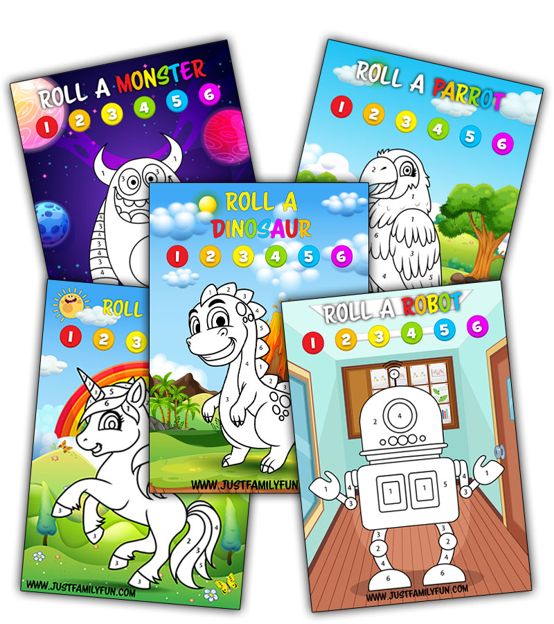 Colouring Dice Games For Kids Printable