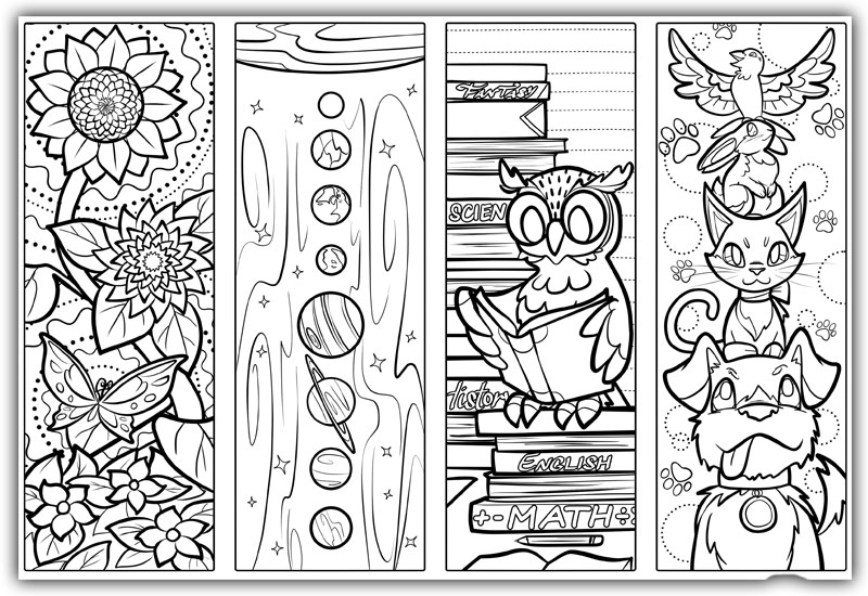 kids Printable Colouring Bookmarks